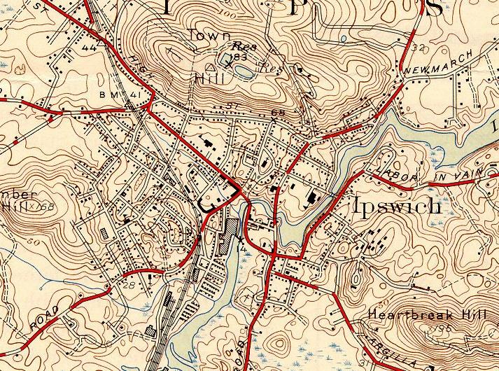 1945 Ipswich Topographic Map lostdelights