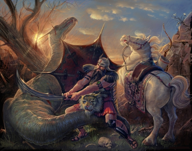 Rostam_slaying_the_Dragon_by_Adel_Adili