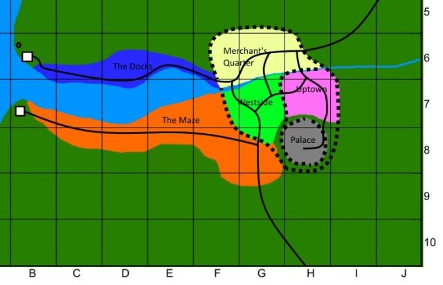 Anthavar city map on 10x10 grid