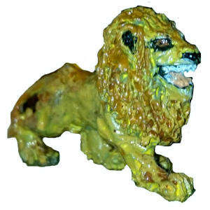 Lion miniature from Ta-Hr, painted an odd greenish yellow