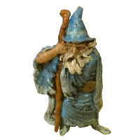 Ral Partha Wizard miniature, old with a faded blue cloak