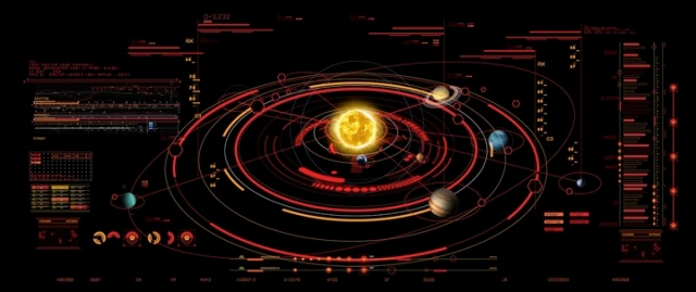 Screen graphics from The Expanse, a HUD of the solar system, with orbits and other data