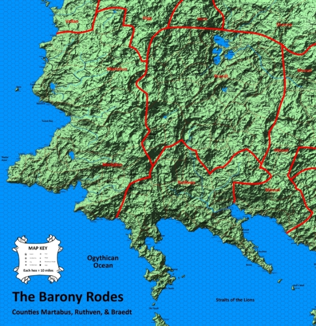 A Map of the Barony Rodes, composed of the Counties Martabus, Ruthven, and Braedt
