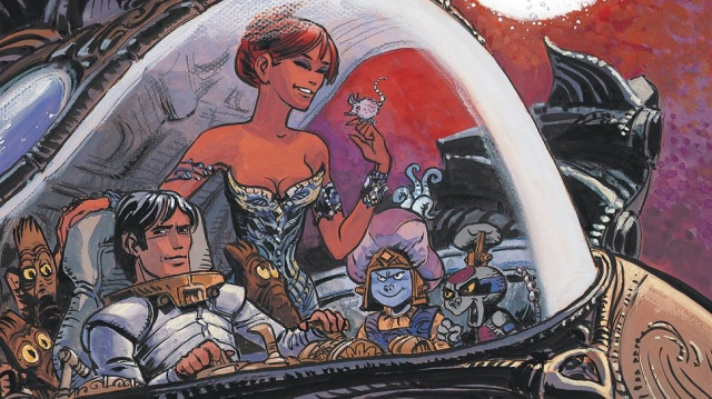 Valerian comic book panel, with the converter and the Shingouz.