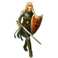 Ruti, a female Ohdriag warrior in chain with sword and shield.