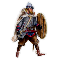 Sigrbrand, a Beorning in chain with sword and shield.