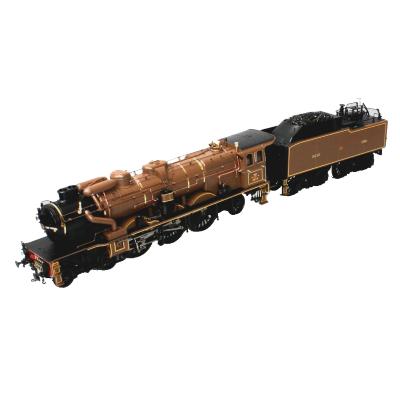Steam locomotive and tender.