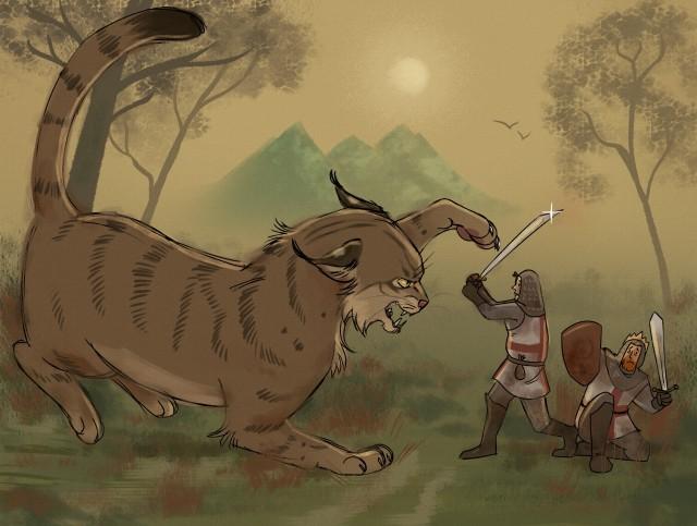 King Arthur fighting the Cath Palug, by Galaxsea.