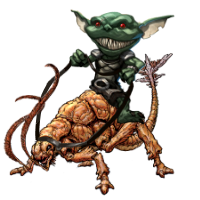 A goblin riding a rust monster; aka. a Rust Rider